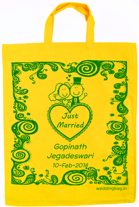 Mehandi Thirumana Thambulam Wedding Return Gift bag - Cotton - Gold Yellow