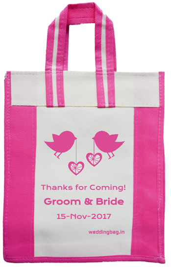 Royal Pink - Thank you - Wedding Return Gift Bag - Non woven