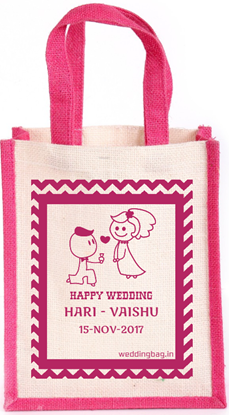 Seamless Waves - Personalized Jute Wedding Thamboolam Bag