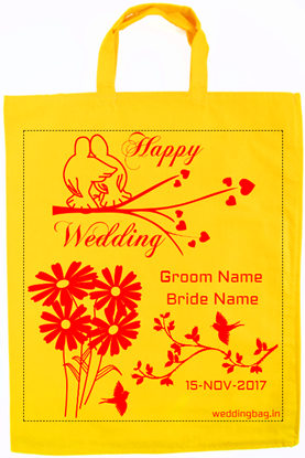 Simple Wedding Return Gift Bag - Cotton - Gold Yellow