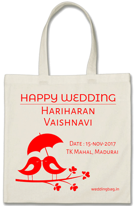 Wedding Return Gift Thamboolam Bag - Cotton - White
