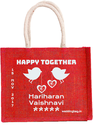 Happy Together Wedding Thamboolam Jute Bag