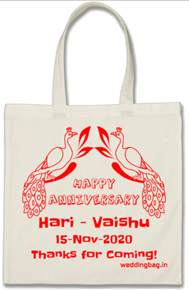 Wedding Anniversary Return Gift Thamboolam Bag - Cotton - White