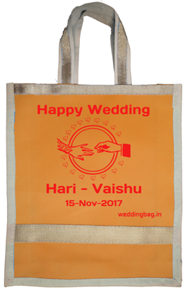 Designer Wedding Thamboolam Bag with Gold lace - Non woven
