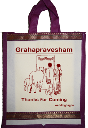House Warming (Grahapravesham) Zari Thamboolam Gift Bag - Non Woven