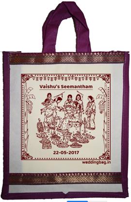 Seemantham Zari Thamboolam Gift Bag - Non woven