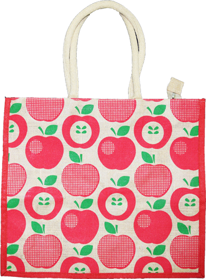 Apple Printed Jute Shopping Bag