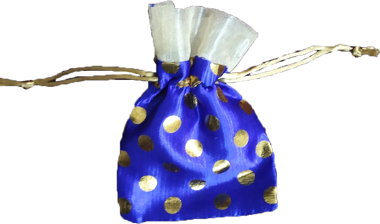 Blue Dot with Zari - Potli Thamboolam bag