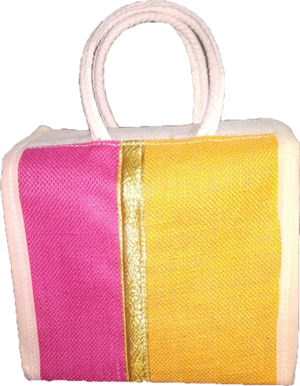 Jute Yellow Lunch Thamboolam Bag with Zari