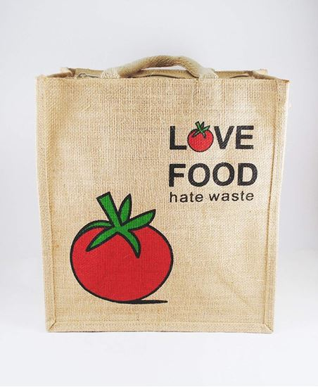 Classy Style Love Food Hate Waste Jute (Lunch Bag)