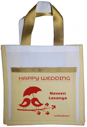 Designer Wedding Thamboolam Bag with lace - Non woven