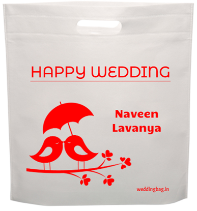 Happy wedding D-cut Thamboolam Non Woven Bag