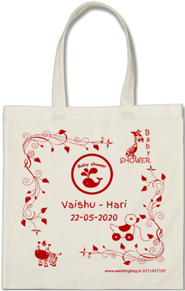 Seemantham (Valaikappu) Thamboolam Return Gift Bag - Cotton - White